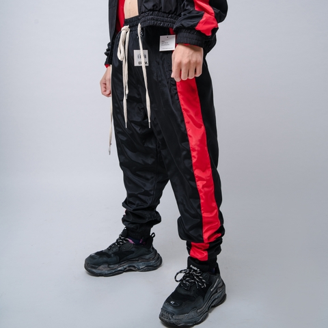 EPTM | Nylon Windbreaker Track Pants / Black Red