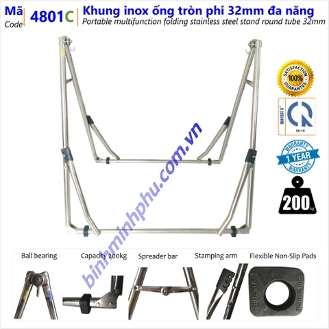 [4801C] KHUNG VÕNG ĐA NĂNG INOX 201 ỐNG TRÒN PHI - Portable Multifunction Folding Stainless Steel Stand Round Tube 32mm pipe