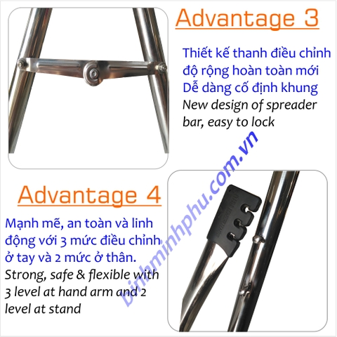 [4801C41] BỘ VÕNG ĐA NĂNG INOX 201 ỐNG TRÒN PHI - Portable Multifunction Folding Stainless Steel Stand Round Tube 32mm pipe SET