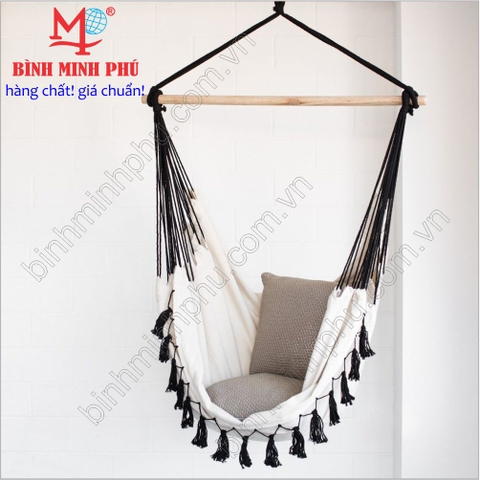[4843A] XÍCH ĐU VẢI COTTON TUA ĐEN -  Portalbe Cotton Swing Chair with Black Lace Trim
