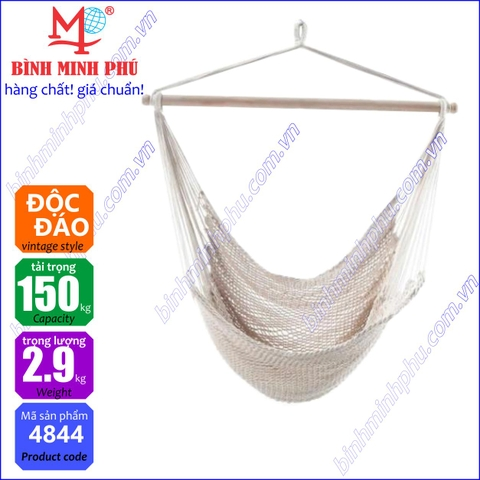 [4844A] XÍCH ĐU DÂY COTTON MINH PHÚ - Portable cotton rope swing chair basic type
