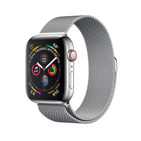 AppleWatch S4 - 44mm (GPS+LTE) Silver Stainless Steel/ Milanese Loop