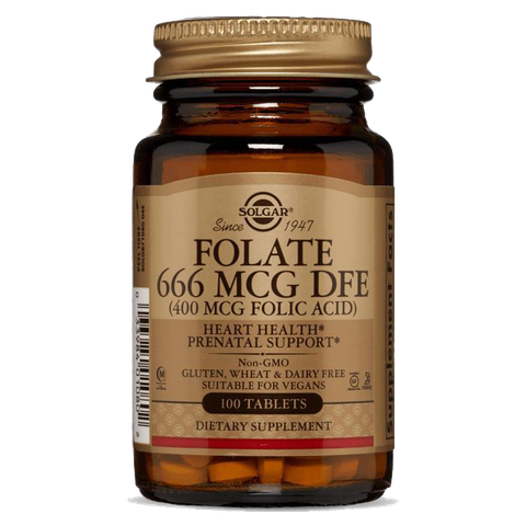 Solgar®FOLATE 666MCG DFE (Folic Acid 400 mcg) 100 Tablets
