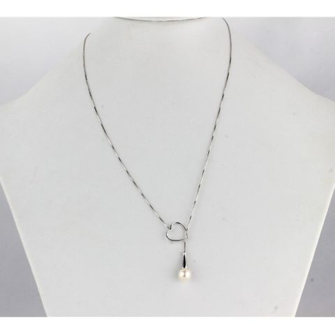 Sterling silver box chain with heart shape, Pearl Necklace in Hanoi