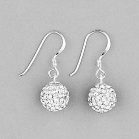 CZ stone ball earrings