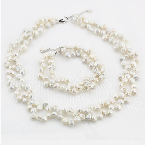 Rice Shaped Pearl Bracelet & Necklace