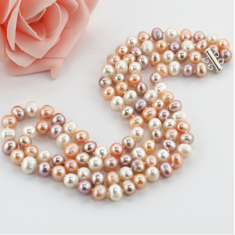 Mixed color drop pearl necklace