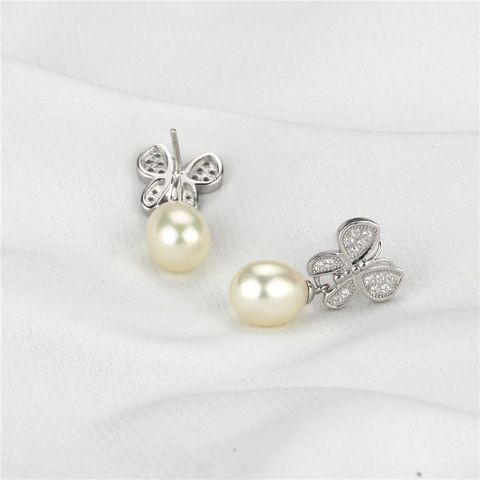 Butterfly drop pearl Earrings