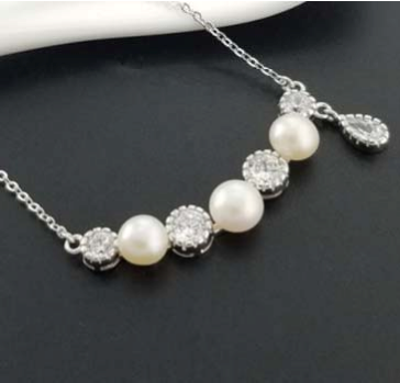 8mm freshwater pearl $ CZ stone necklace