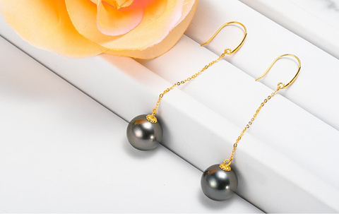 Black Tahiti Sea Pearl Earrings
