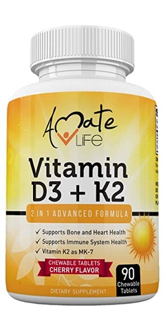 Amate Life Vitamin K2 D3, 90 Chewable Tablets