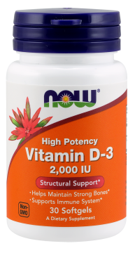 NOW Vitamin D3 2000 IU, 120 Softgels