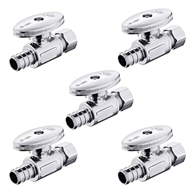 (Pack of 5) EFIELD 1/4 Turn Straight Stop Valve 3/8