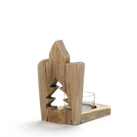 Wooden CandleStick (Pine Tree)