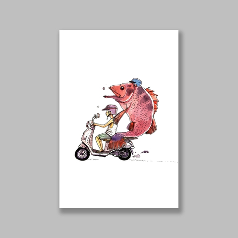 Tranh Motobike, boy and fish on moped watercolor