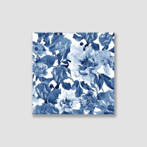 Tranh Peony flower, Pattern painting, Blue S0228