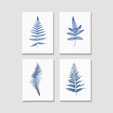 Tranh Leaves, botanical, blue