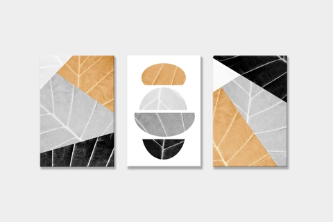 Bộ tranh Leaves, abstract, yellow, grey, black