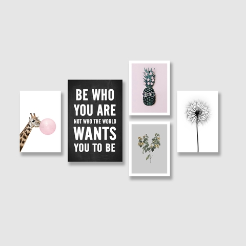 Bộ tranh Be who you are quote, dandelion, pineapple,  giraffe