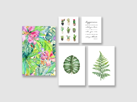 Bộ tranh Leaves, Cactus, Tropical, Watercolor SE185