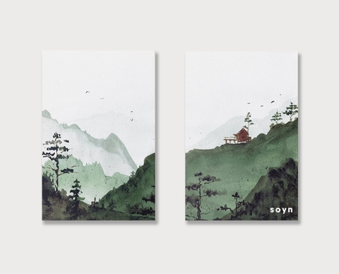 Bộ tranh Landscape, Forest, Mountain, Green SE198