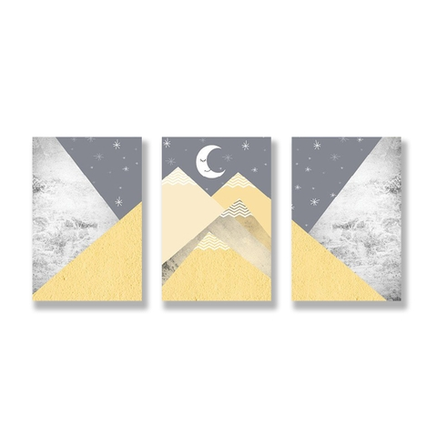 Bộ tranh Geometric, Abstract, Mountain, Yellow SE222