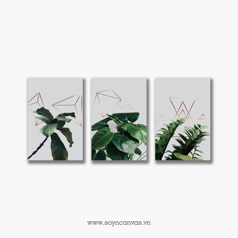 Bộ tranh Green Leaves, Gold Geometric, Botanical, Tropical SE261