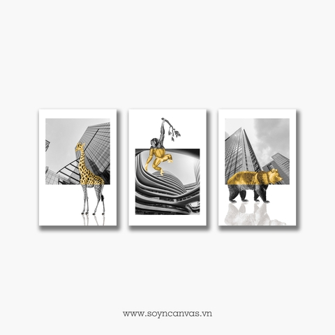 Bộ tranh Building, Animal, Gold, Black & White SE265