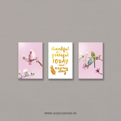 Bộ tranh Pink, Birds, Gold, Quote SE276