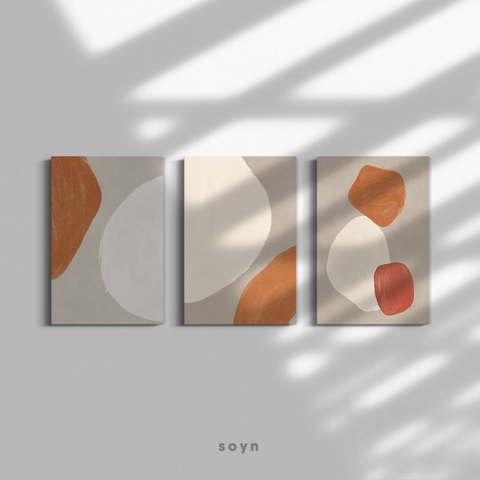 Bộ tranh Abstract, Minimalism, Modern art, Nude color, SE370