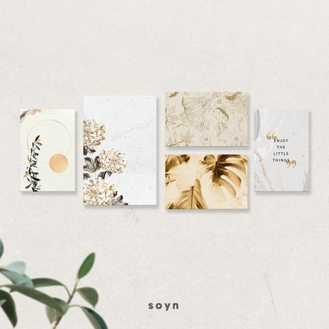 Bộ tranh Gold Leaves, Flower, Monstera, Enjoy the little things, SE376