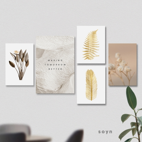 Bộ tranh Gold leaves, Flower, Making tomorrow better quote, SE377