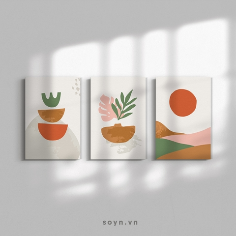 Bộ tranh Boho style, Minimalism, Illustration, Leaves, Mountain, SE406