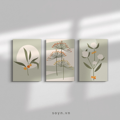 Bộ tranh Leaves, Flower, Minimalism, Pastel color, SE413