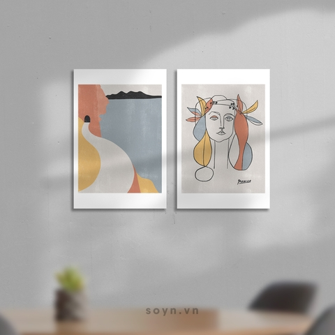 Bộ tranh Minimalism, Picasso style, Pastel color, Fashion, Abstract, SE418
