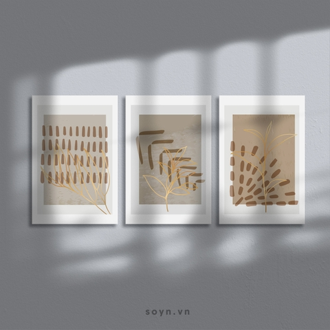 Bộ tranh Abstract, Leaves, Gold, Modern art, SE456