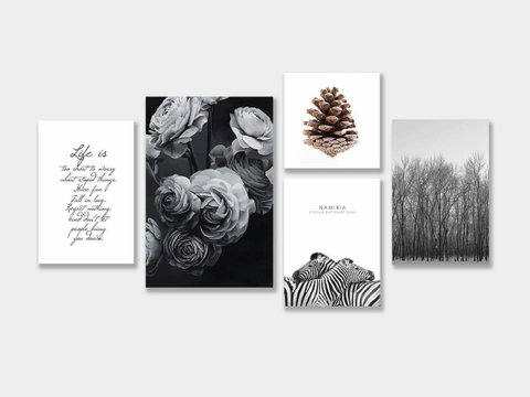 Bộ tranh Peony BW, pinecone, forest, zebra, life quote