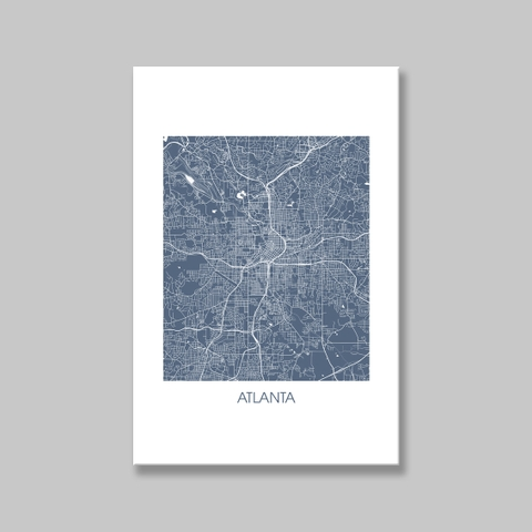 Tranh Atlanta Map, Blue