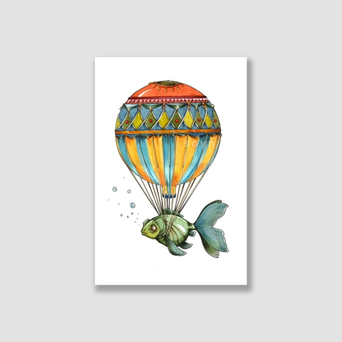 Tranh Balloon with fish, watercolor SN0092