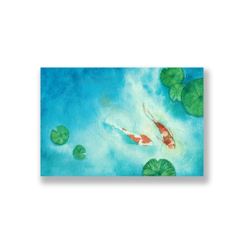 Tranh Koi couple watercolor SN0096