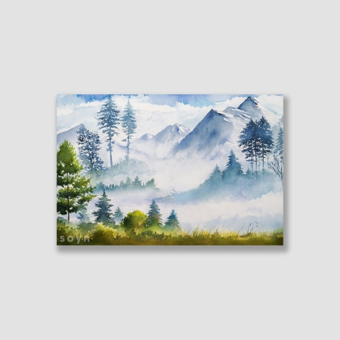 Tranh Forest, Landscape, Mountain, Watercolor SNS321