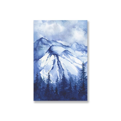 Tranh Winter mountain, blue watercolor
