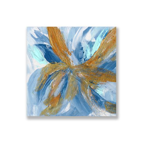 Tranh Abstract flower, Blue, Yellow, Gold SU0152