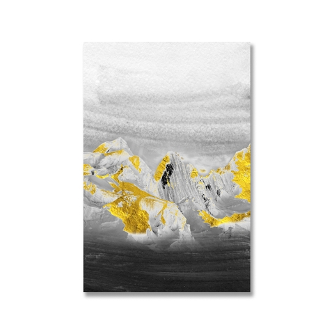 Tranh canvas Mountain, Gold, Black & White, Abstract SU0162
