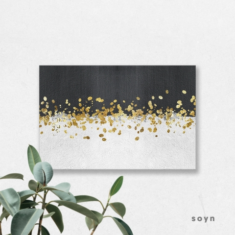 Tranh Abstract, Black, White, Gold, SU0188