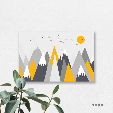 Tranh Geometric, Mountain, Yellow, SU0189