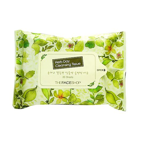 KHĂN ƯỚT TẨY TRANG HERB DAY CLEANSING TISSUE THE FACESHOP