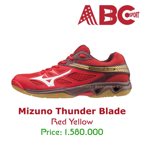 Badminton Shoes Mizuno Thunder Blade Red Yellow 177063