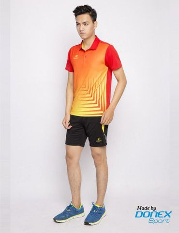 Badminton Shirt Donex Original fish bone pattern Red Yellow