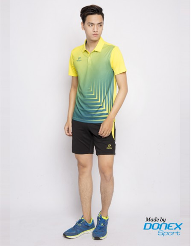Badminton Shirt Donex Original fish bone pattern Yellow Blue